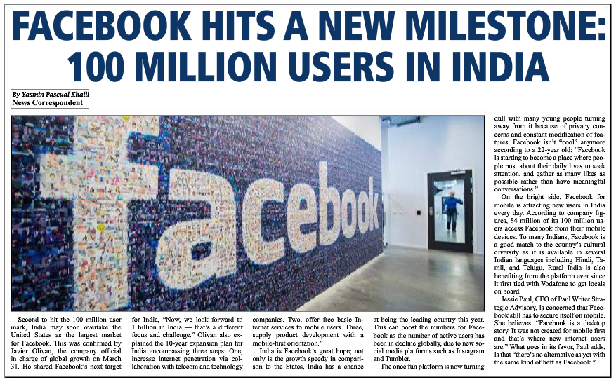 Facebook Hits a New Milestone: 100 million users in India