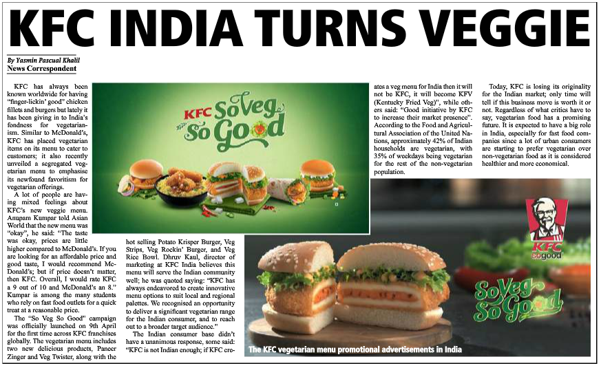 KFC India Turns Veggie